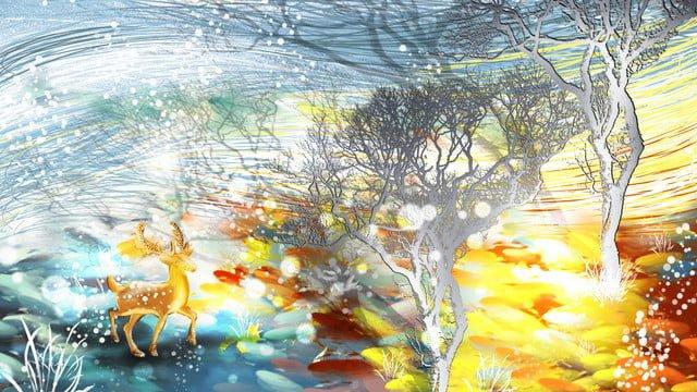 Winter whispers beautiful fresh illustration coil impression elk tree shadow, Winter Whisper, Beautiful, Fresh illustration image