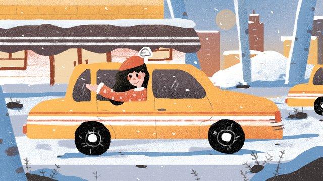 안녕하세요 겨울 아름다운 눈 일러스트 레이션 삽화 소재
