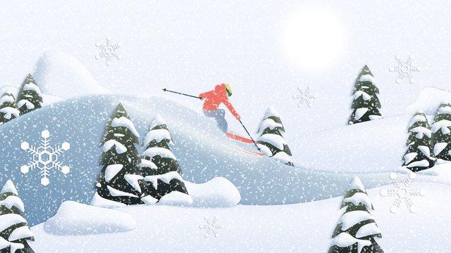 winter paper cut wind ski scene llustration image illustration image