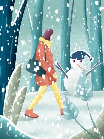 winter hello hand drawn poster illustration wallpaper llustration image