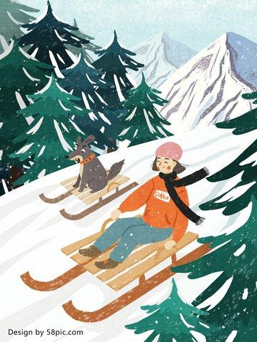冬こんにちは大愛冬ハッピースキーオリジナル手描きイラスト イラストレーション画像