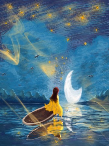 Wonderful starry sky coil girl floats to the moon, Wonderful Starry Sky, Coil Image, Healing illustration image