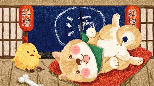 И ветер продает симпатичный рисунок катушки Шиба ину Ресурсы иллюстрации