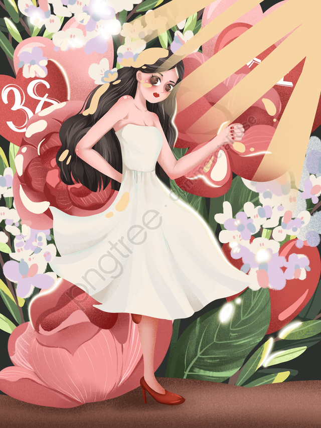 38 Women S Day Queen S Day Girl Beautiful, Flower, Light, Romantic llustration image