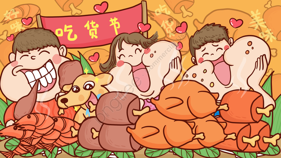 Eat Food Food Delicious Delicious, Prawns, Big Fish, Dogs llustration image
