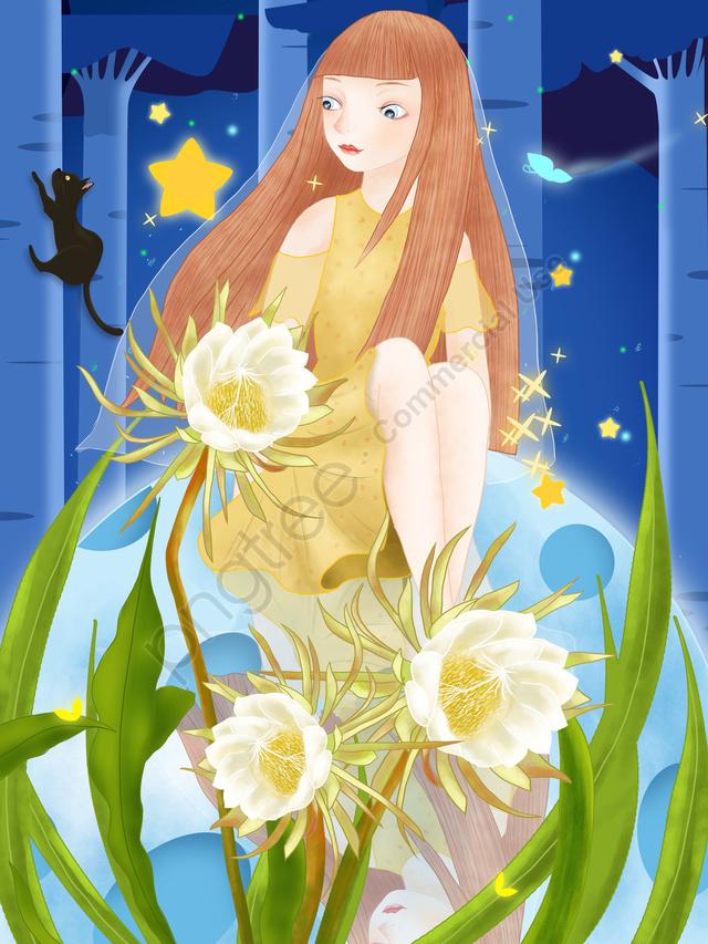 девушка луна шелк цветок цветок, спокойной ночи, вечера, ночи llustration image