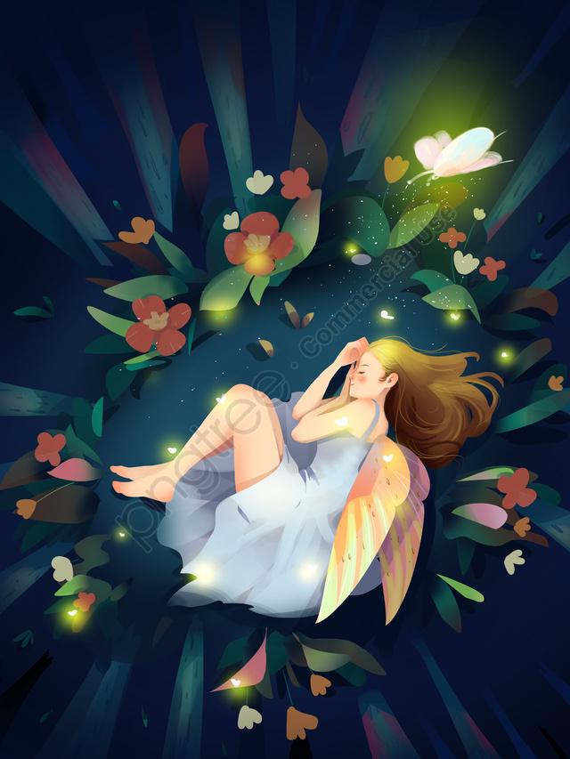 ليلة سعيدة علاج فتاة جديدة, ليلة, جميلة, فتاة llustration image