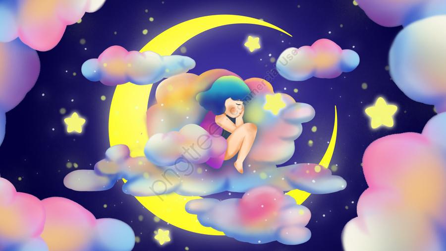 Good Night Girl Sleep Night, Stars, Good Night, World llustration image