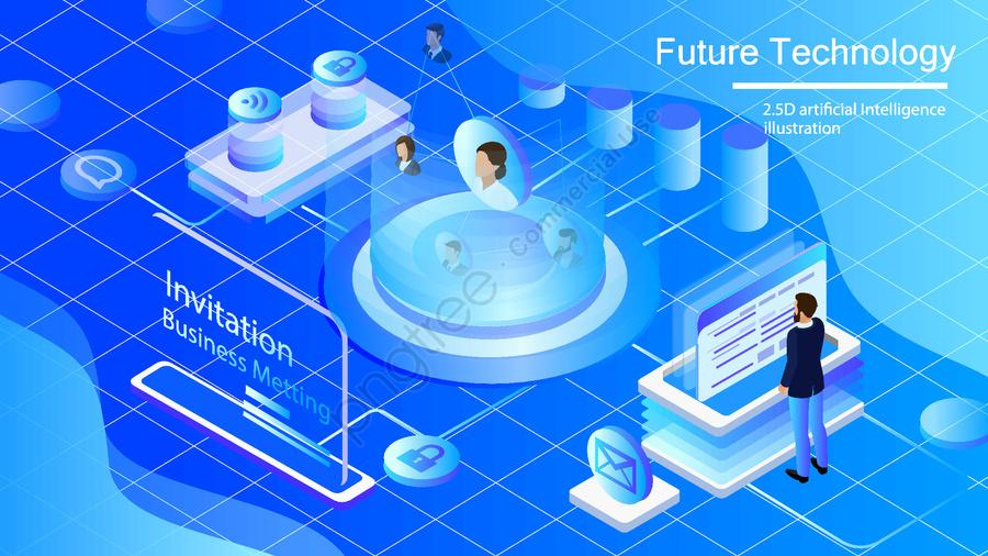 Original Commercial Illustration Wallpaper Poster Artificial Intelligence, 2 5d, Breathable, Technology llustration image