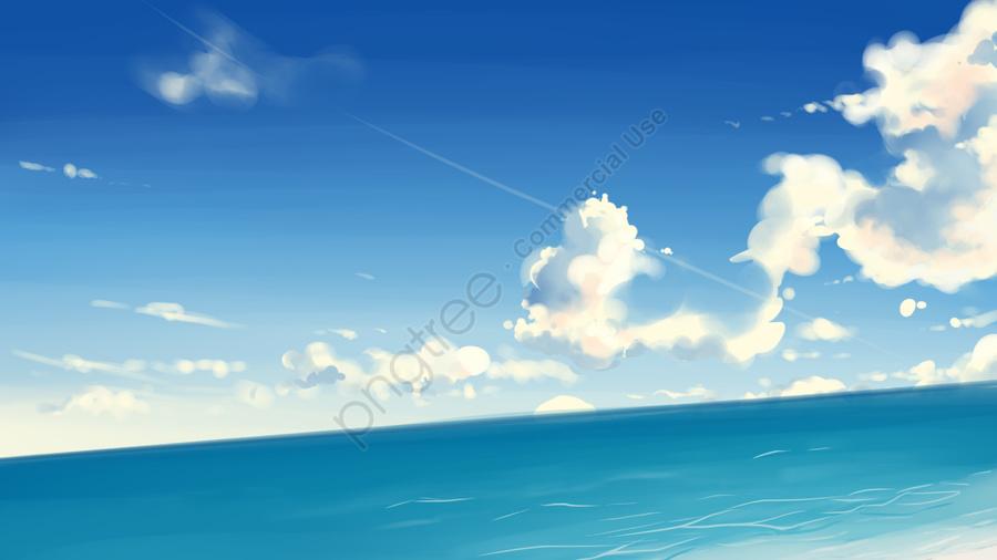 Original Illustration Japanese Landscape, Beach, White Clouds, Airplane Line llustration image