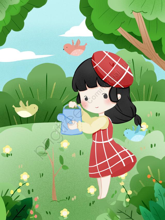 Original Small Fresh Arbor Day Planting, Small Fresh, Planting, Original llustration image