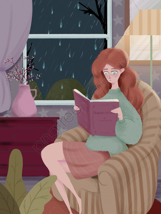 Rainy Night Rain Night Good Night, Rainy Night, Girl, Fresh llustration image