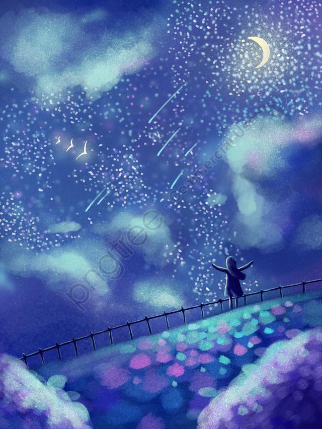 小さくて新鮮な 青 星空 見上げる, 治療, 見上げる, 星 llustration image