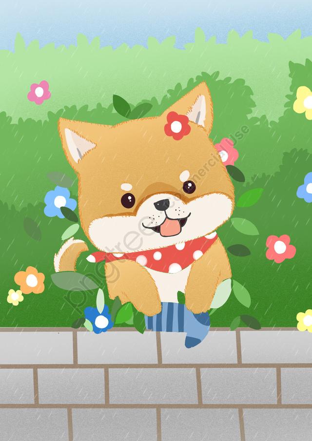 Socks Dog Shiba Inu Cute Pet, Illustration, Warm, Original llustration image