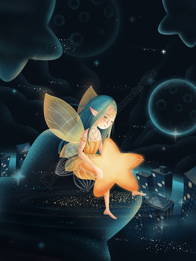 Starry Sky Starry Night Stars Night, Dream, Beautiful, Hand Painted llustration image