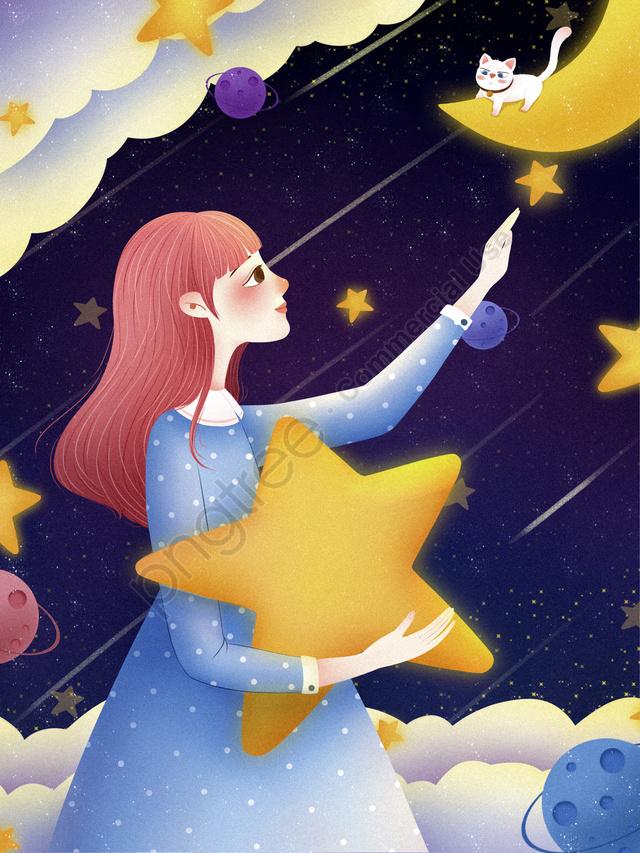 Starry Sky Starry Night Stars Night, Romantic, Good Night, Night llustration image