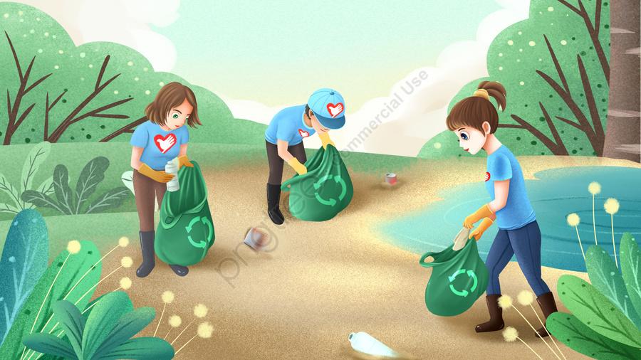 Картинка уборки мусора