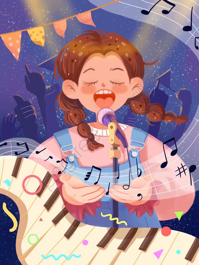 世界の子供たちの歌の日 かわいい 女の子 歌, 女の子, 世界こどもの日のテーマイラスト, かわいい llustration image