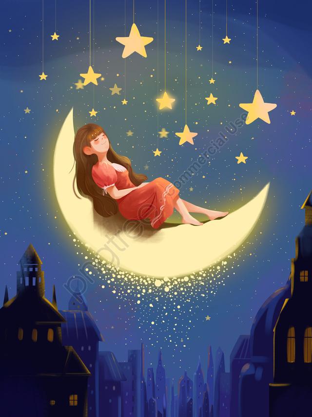 世界の睡眠日 おやすみ 睡眠 暖かさ, 暖かさ, 女の子, 世界の睡眠日 llustration image