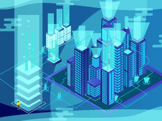 2 5d future technology sense city llustration image