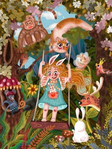 april hello spring girl Material de ilustração