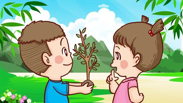 arbor day boy girl trồng cây quà tặng Hình minh họa