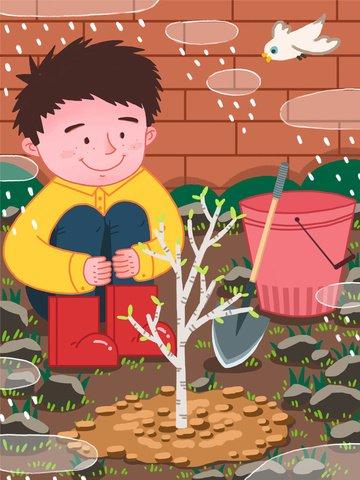 arbor day boy trồng cây mây mưa chim Hình minh họa Hình minh họa