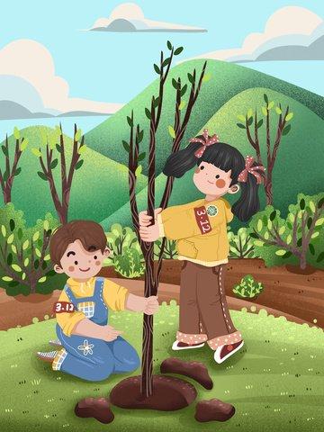 植樹の日子供子供のイラストかわいい イラスト素材