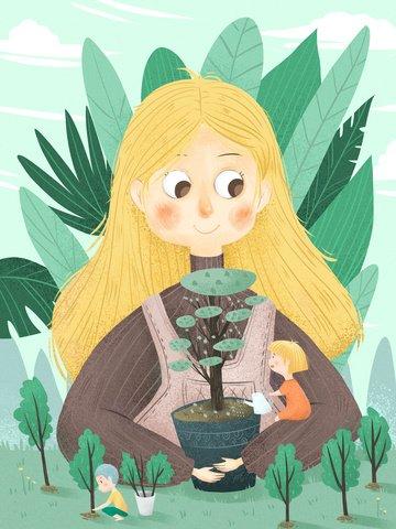 arbor ngày bảo vệ môi trường xanh tươi phim hoạt hình Hình minh họa