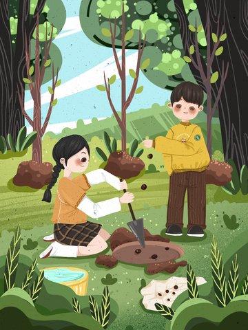 arbor day 緑 子供たち 子供たち イラスト素材 イラスト画像