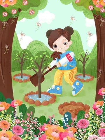 arbor day planting trees working caring for the environment Ресурсы иллюстрации Иллюстрация изображения