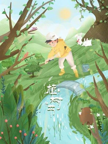 arbor day trồng cây trồng cậu bé Hình minh họa