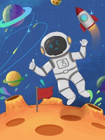 astronaut aerospace universe rocket Ресурсы иллюстрации