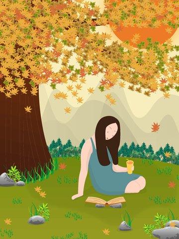autumn girl homing pigeon maple Ресурсы иллюстрации