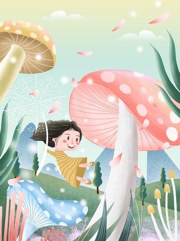 beautiful dreamy wind hello spring spring illustration Ресурсы иллюстрации
