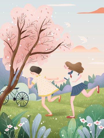 beautiful hello spring spring illustration spring illustration ภาพภาพประกอบ