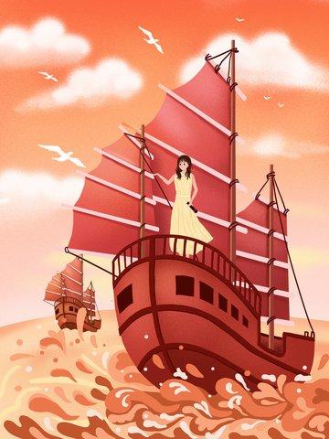 beautiful nautical sea boat Material de ilustração Imagens de ilustração