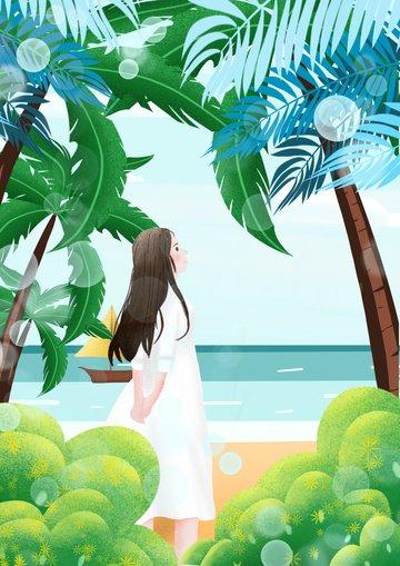 美麗浪漫的海濱沙灘 插畫素材