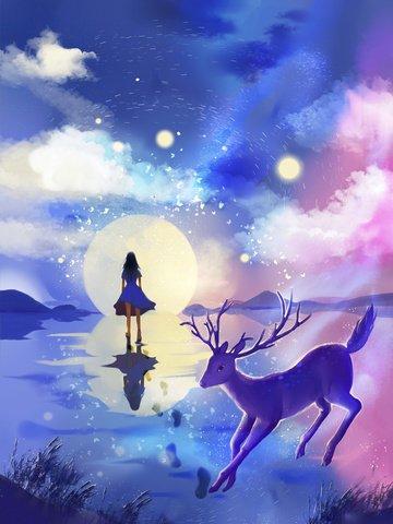beautiful small fresh girl llustration image