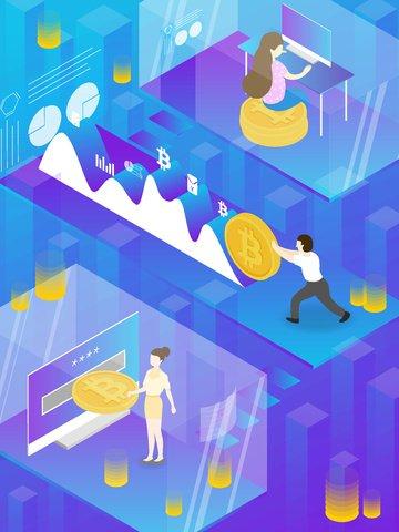 bitcoin business office financial Material de ilustração