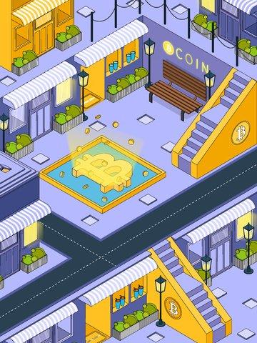 bitcoin financial street financial 2 5d Immagine dell'illustrazione