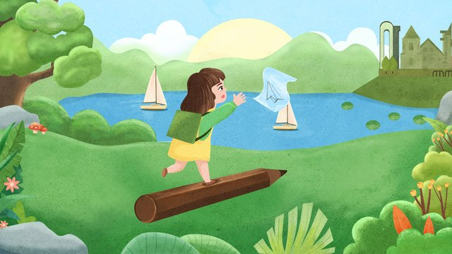 blue sky river water girl drawing board ภาพ