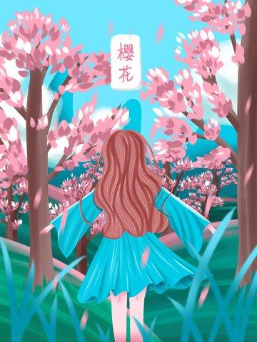 青い空白い雲草緑丘 イラスト画像