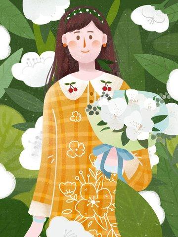 bouquet girl texture bouquet Material de ilustração