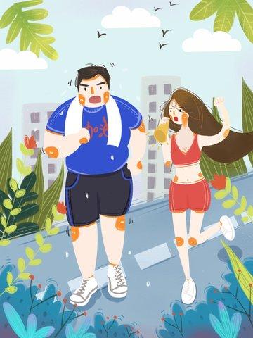 burning calories fat man park running Ресурсы иллюстрации