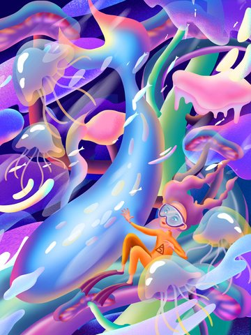 candy colorful ocean whale Illustrationsmaterial