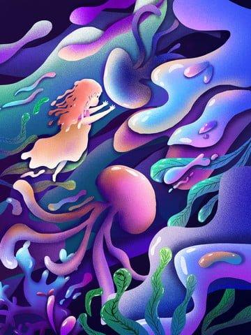 キャンディ溶け アンダーウォーターワールド クラゲ 子供の風のイラスト イラスト素材