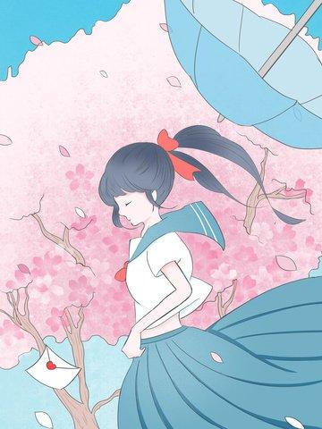 桜 飛んで 桜祭り 新鮮な イラスト素材