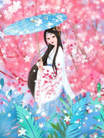 cherry blossom pink spring sakura tree Imagens de ilustração