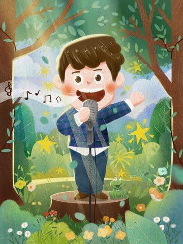 子供 子供 歌を歌う 幼稚園 イラスト画像
